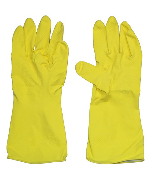 Перчатки хозяйственные желтые COTTON M