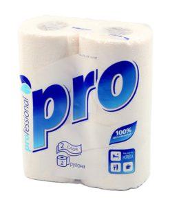 """Полотенце бумажное""""PRO"""" 2-слойное, целл., 15 м белые 2 шт в уп."""
