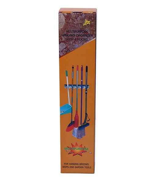 Настенный держатель 5 креплений, 6 крючков (белый пластик)